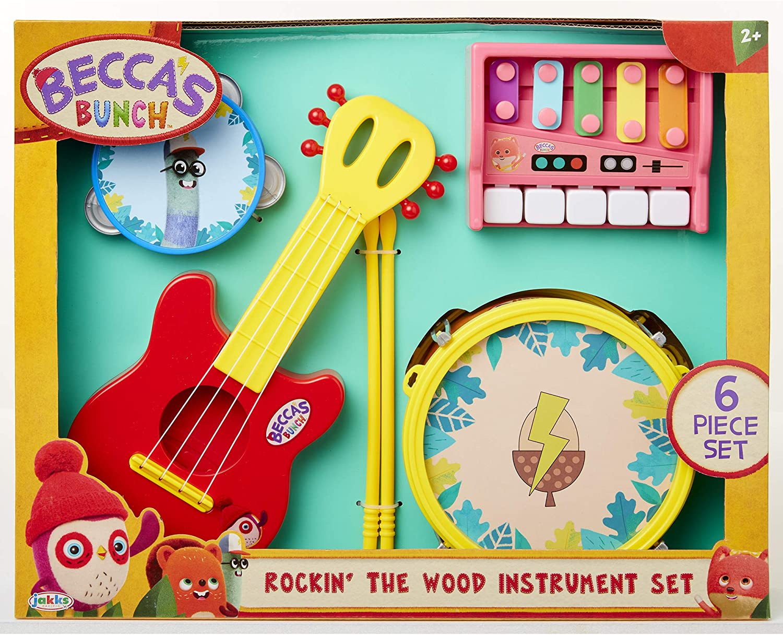 Baby Preschool Guitar Tambourine Drum /& Drumsticks Beccas Bunch Owl Pretend Play Instruments Set Keyboard