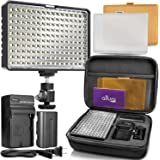 Altura Photo 160 LED Video Light for DSLR Camera and Camcorder Complete Kit – Ultra Bright Dimmable with Battery, Charger, Filters, and Carry Case (Canon, Nikon, Panasonic, Sony, Samsung, Olympus)