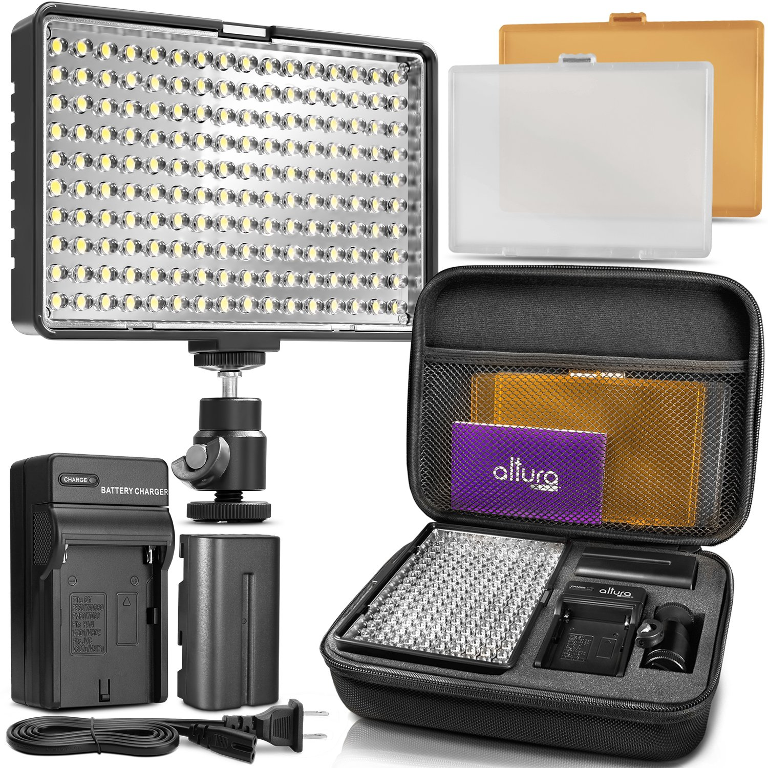 Altura Photo 160 LED Video Light for DSLR Camera and Camcorder Complete Kit – Ultra Bright Dimmable with Battery, Charger, Filters, and Carry Case (Canon, Nikon, Panasonic, Sony, Samsung, Olympus) by Altura Photo