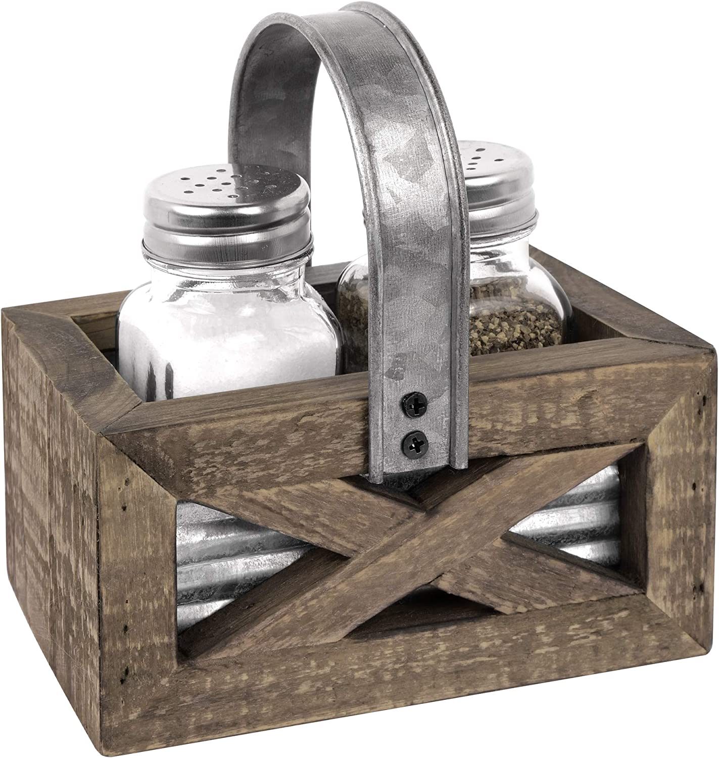 Autumn Alley Barn Door Rustic Salt and Pepper Shakers Set in Wood and Galvanized Caddy | Farmhouse Salt and Pepper Shakers For Rustic Kitchen Decor | Rustic Kitchen Accessory for your Country Kitchen
