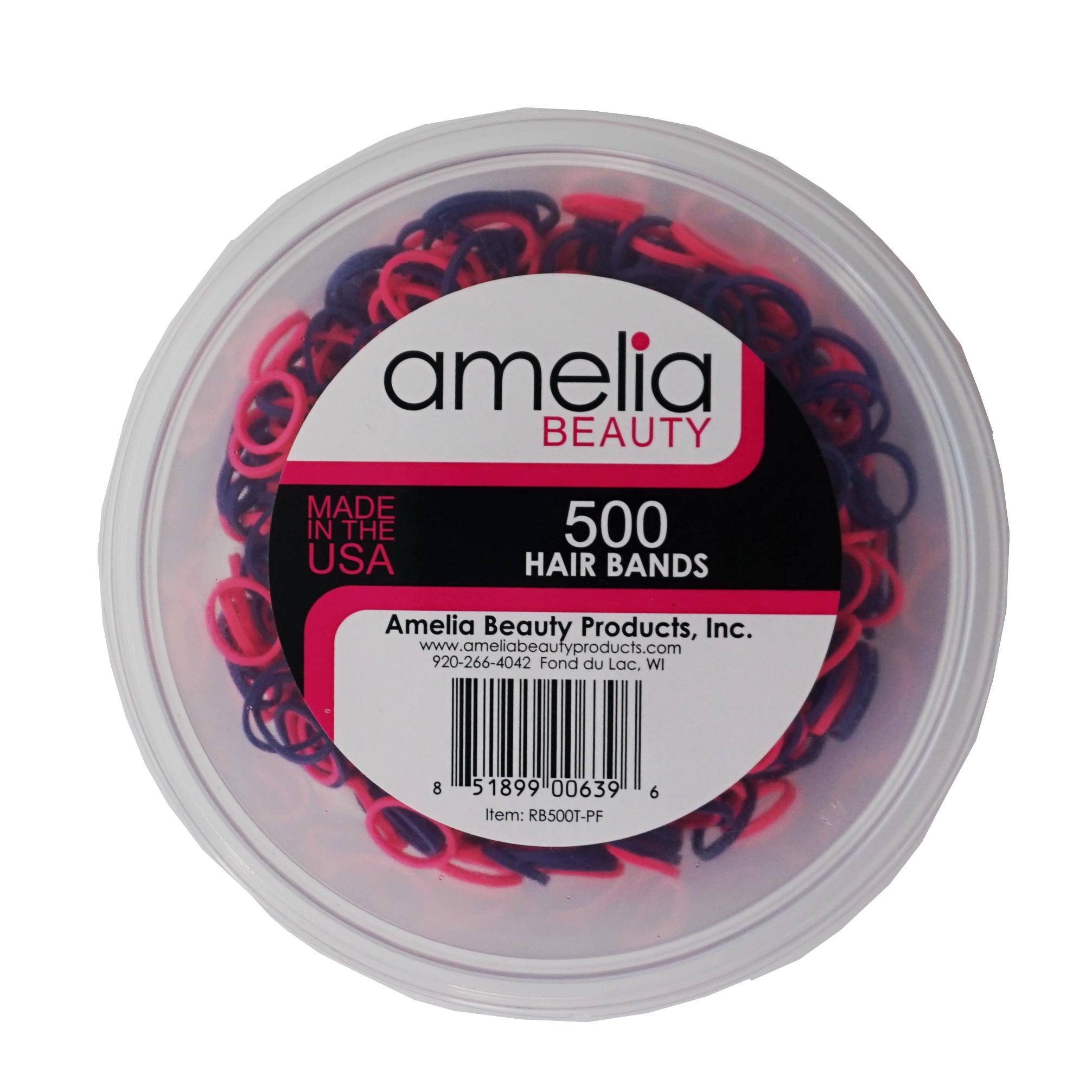 500 Count Rubber Bands in Re-closable Container for Ponytails and Braids (Purple/Fuchsia)