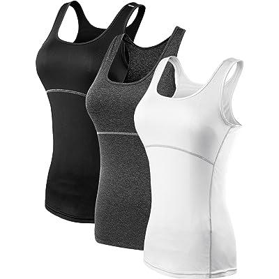 Neleus Women's 3 Pack Dry Fit Workout Compression Long Tank Top