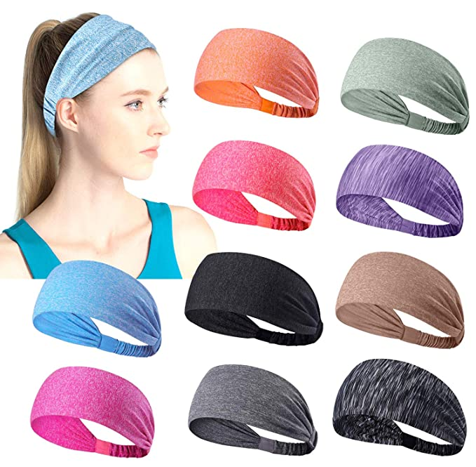 Junya Sports Headbands Yoga Sport Athletic Headband for Running Sports Travel Fitness Elastic Wicking Workout Non Slip Lightweight Multi Headbands Headscarf fits All Men