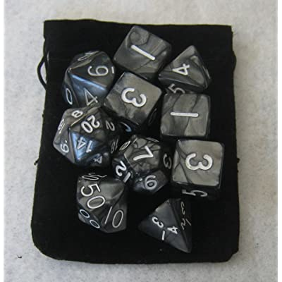 Smoke Black RPG D&D Dice Set: 7 + 3d6 = 10 polyhedral die plus bag! by Dave's Dice: Toys & Games