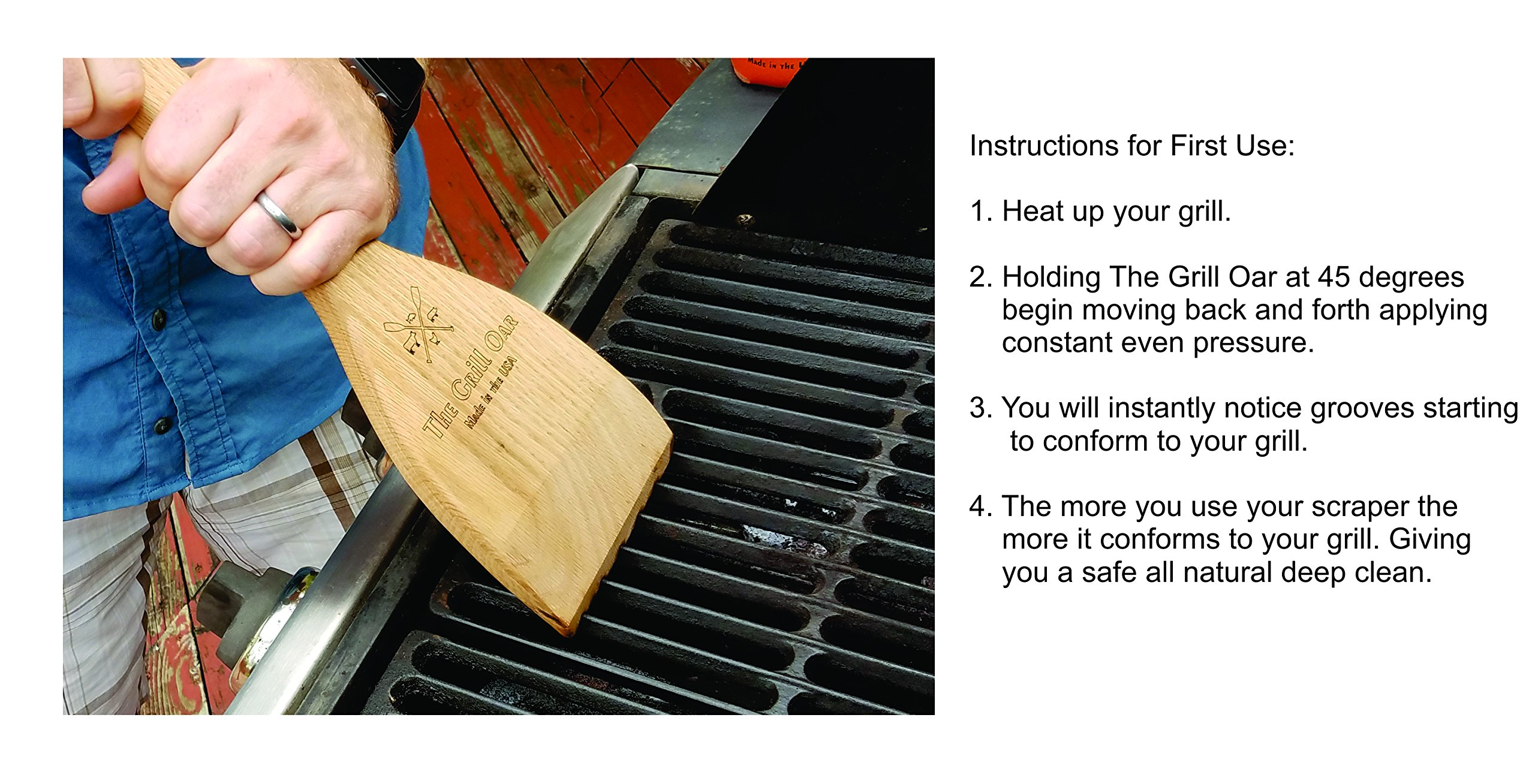 The Grill Oar - Wooden Grill Scraper and Cleaner, Premium Red Oak Wood, Cleans Top and Between Grates, Safe Replacement for Wire Bristle Brush, Made in The USA, Free Koozie Included! by Simply Better (Image #3)