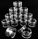 Beauticom® 12 Pieces High Quality 20 Gram 20ml Clear Empty Jars small Plastic Round Clear Containers fit Lip Balm, Cosmetic, Lotion, Pot, Food, BPA Free.