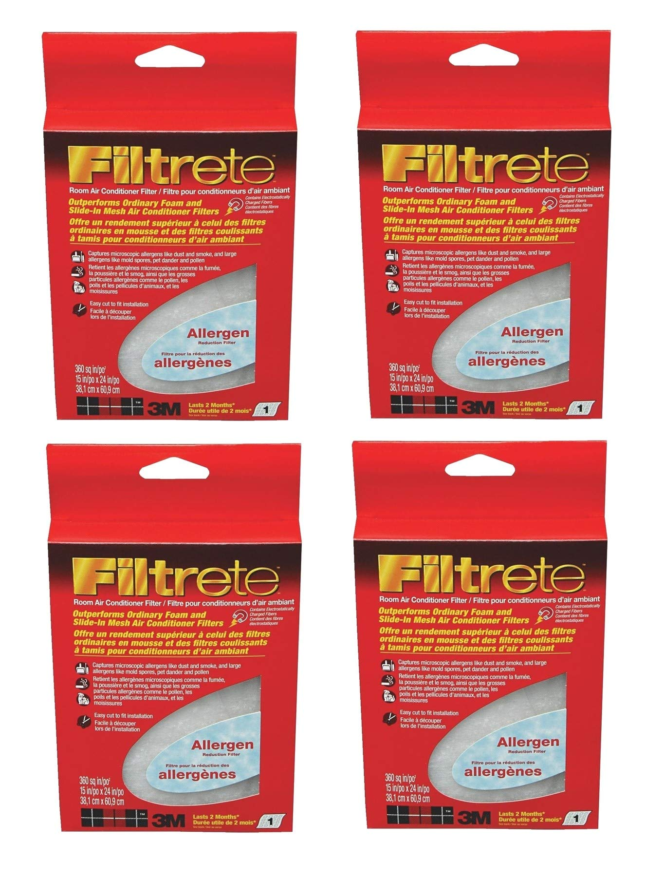 Filtrete 3M Air Conditioner Filter, 15-Inch by 24-Inch (9808), 4 Pack by Filtrete