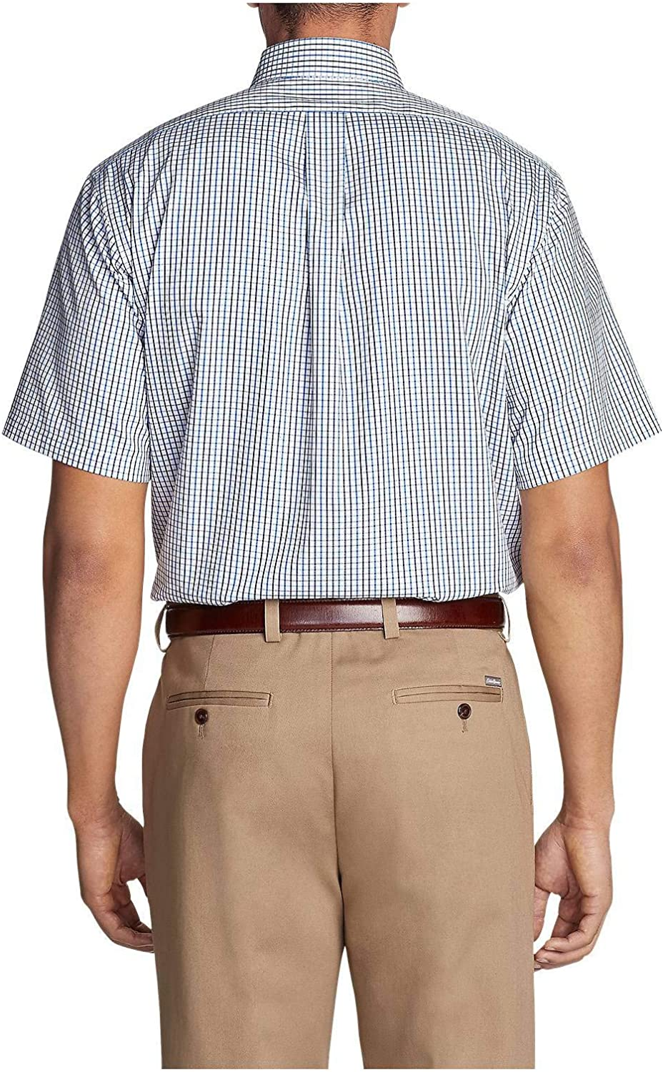 Eddie Bauer Mens Wrinkle-Free Relaxed Fit Short-Sleeve Pinpoint Oxford Shirt