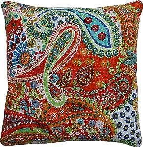 Sophia Art Indian Paisley Throw Pillow Case Home Decor Bedroom Decor Boho Decor Boho Chic Bohemian Decorative Pillow for Couch Cotton Sequin Floral Kantha Handmade Cushion Cover (16x16) inch