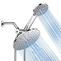Shower Head, Foneso High Pressure Handheld Showerhead with Hose, 5 Settings Chrome Finished Hand Held and Rainfall Shower Set- Including Bracket Teflon Washer, Easy Install