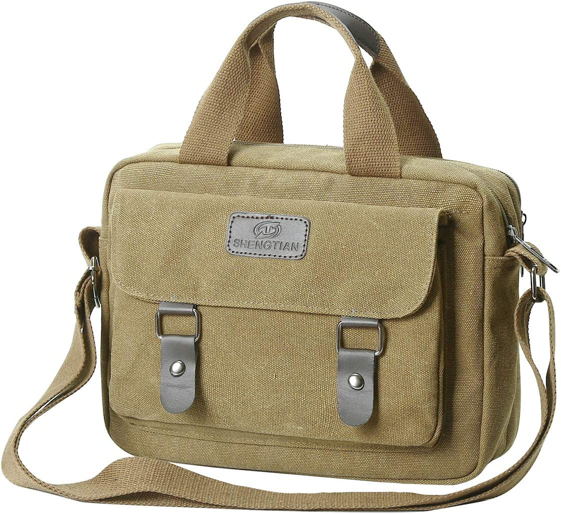 Eshow Men Messenger Bag Canvas Shoulder Laptop Bag for Men 14 inch Tablet Messenger Briefcase Work MacBook Pro Crossbody Bag Satchel for Casual Business School Travelling