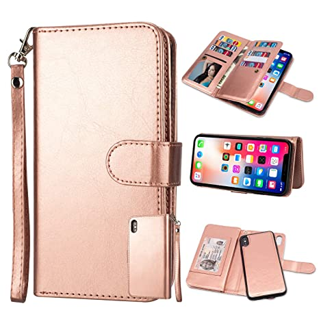 low priced 0350a 4a645 Black Friday Cyber Monday Deals-For iPhone Xs Max Wallet Case,Leather  Wallet Case Magnetic Detachable Slim Back Cover Card Holder Slot Wrist  Strap ...