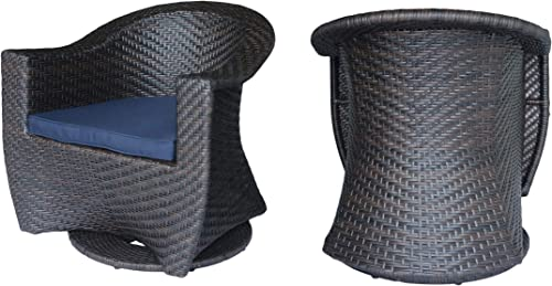 Great Deal Furniture Florence Patio Swivel Chairs, Wicker with Outdoor Cushions, Multi-Brown and Navy Blue Set of 2