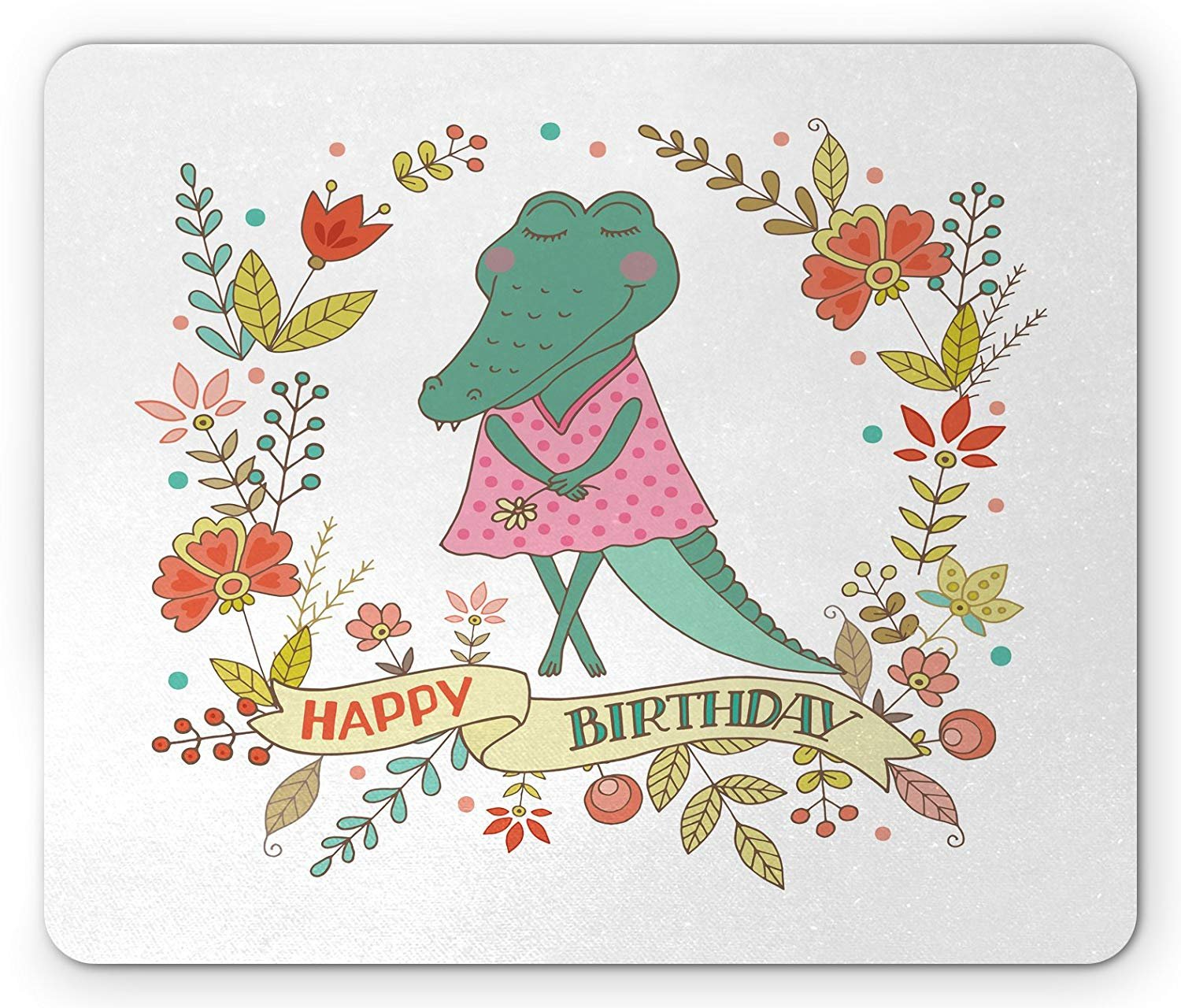 Alligator Mouse Pad, Shy Reptile Baby Wearing Pink Polka Dotted ...