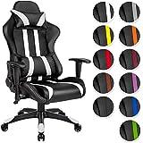 TecTake Chaise fauteuil siège de bureau racing sport ergonomique avec support lombaire et coussin - diverses couleurs au choix - (noir blanc | no. 402029)