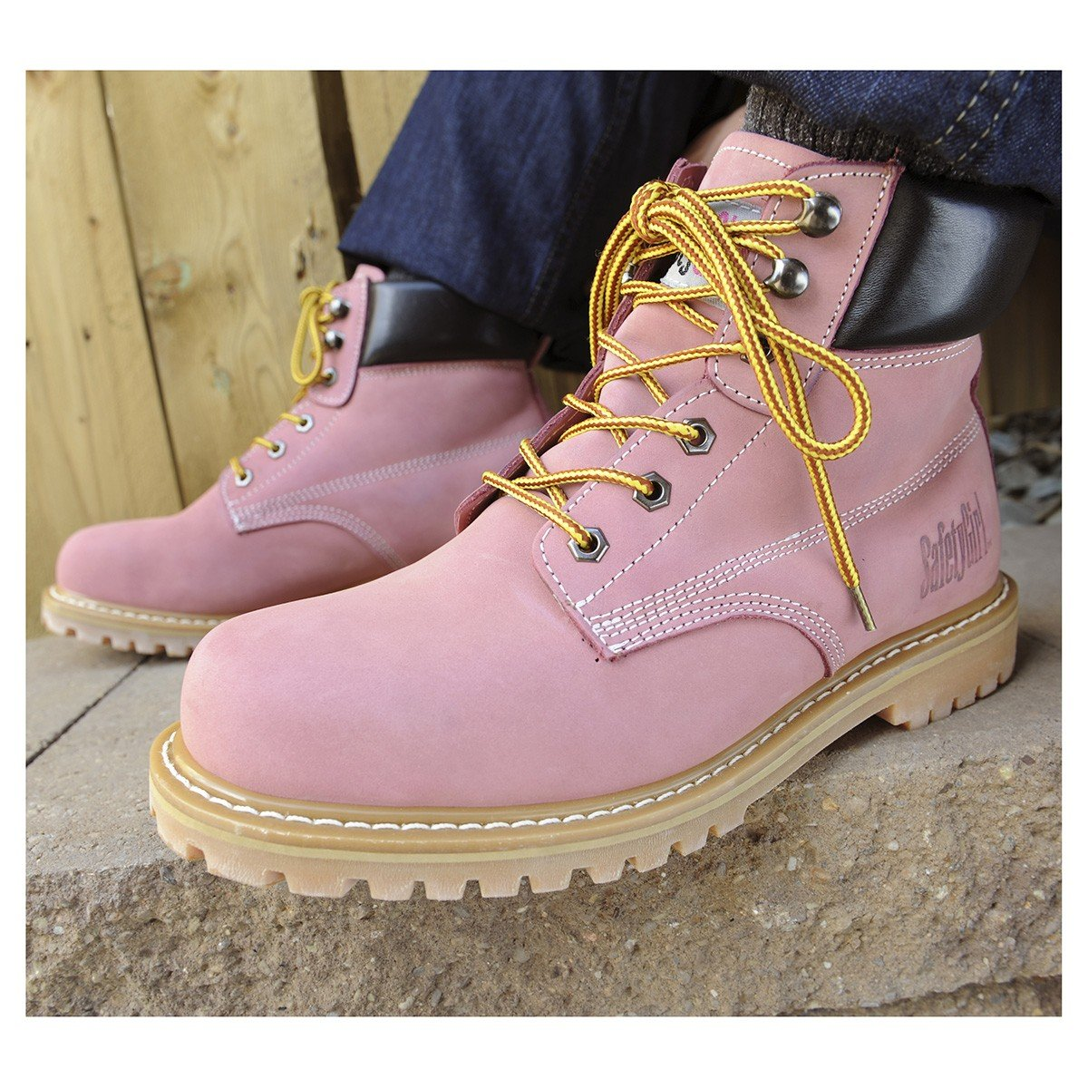 Safety Girl GS003-Lt Pink-9M Steel Toe Work Boots - Light Pink - 9M, English, Capacity, Volume, Leather, 9M, Pink () by Safety Girl (Image #9)