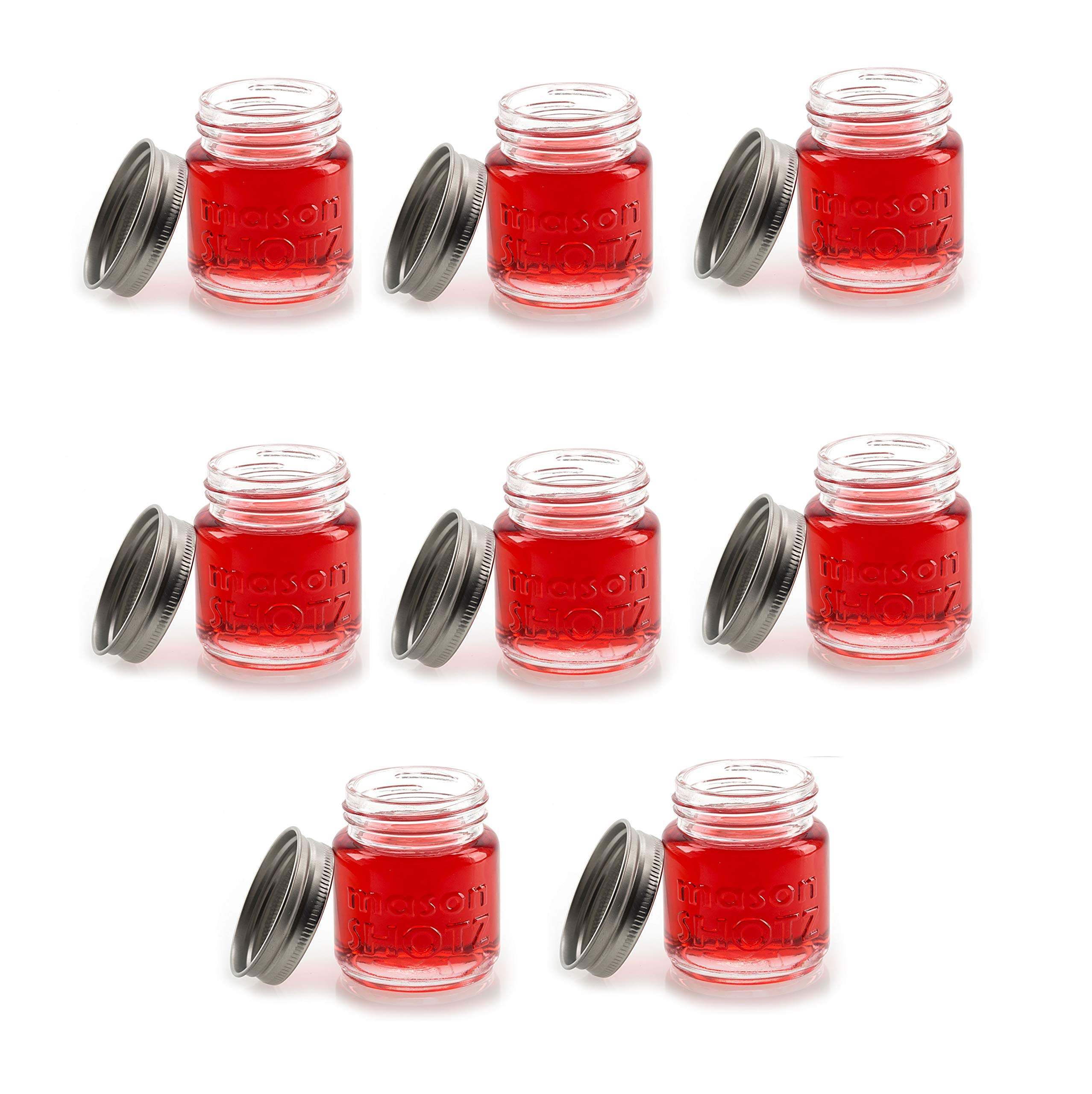 Mason Jar Shot Glasses with Lids (Set of 8) – Mason Jar 2 Ounce Shot Glasses w/Leak-Proof Lids - Great For Shots, Drinks, Favors, Candles And Crafts by Premium Vials