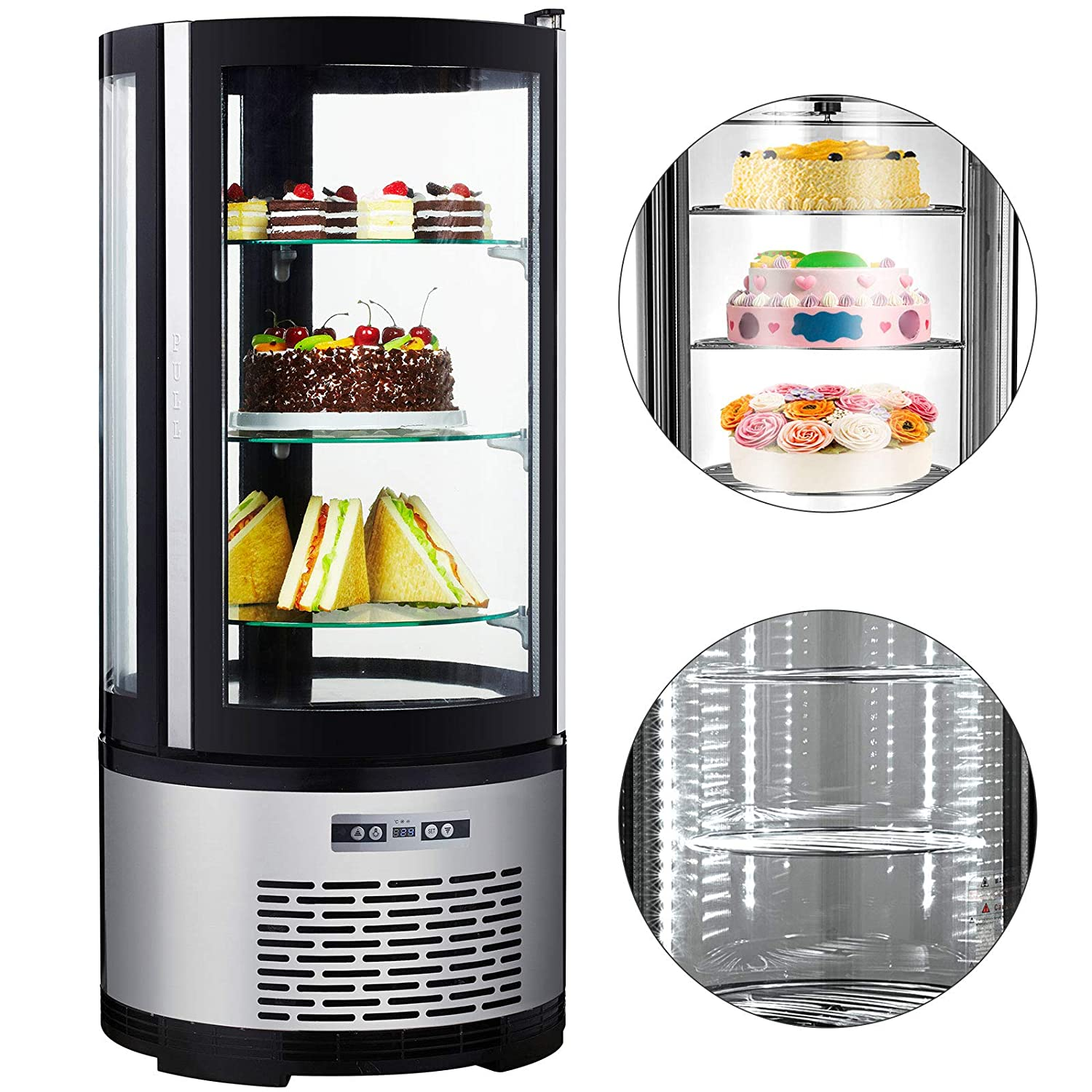 VBENLEM 3.5cu. ft.Commercial Curved Glass Display Refrigerator 100L Deli Bakery Display Case LED Lighting Countertop Cake Display Cooler for Cakes Dessert Pies Used to Bakery Coffee Shop Cake Shop