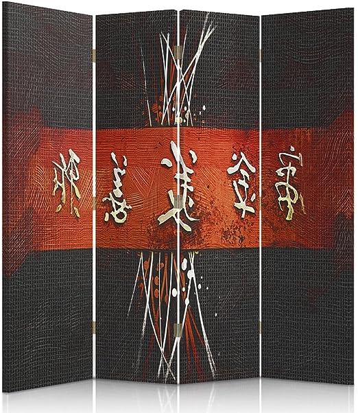 Scrittura Giapponese bilaterale Rosso Nero a 3 Parti ASTRAZIONE Bianco Orientale Feeby Frames Il paravento Stampato su Telo,Il divisorio Decorativo per Locali 110x150 cm