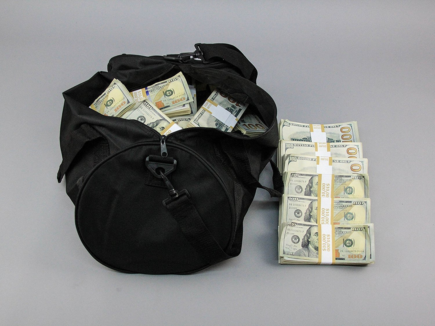 PROP MONEY Real Looking Copy NEW STYLE $100s - AGED BLANK FILLER DUFFLE BAG Pack $500,000 for Movie, TV, Videos & Novelty