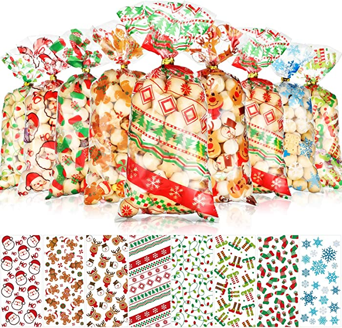 200 Pieces Christmas Treat Favor Bags Xmas Santa Cellophane Plastic Candy Goodie Bags with 200 Pieces Gold and Silver Twist Ties for Winter Holiday Christmas Party Decorations, 8 Assorted Styles