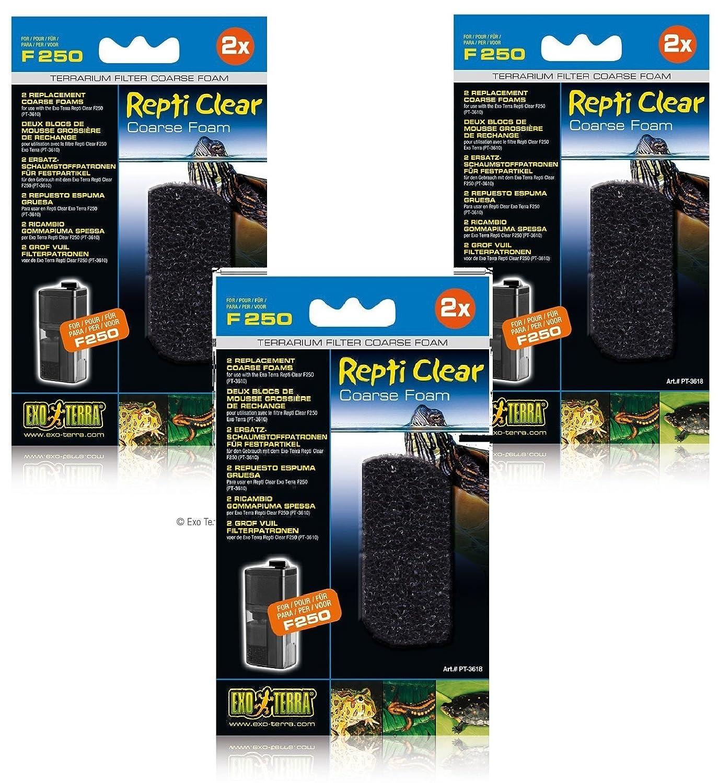 (3 Pack) Exo Terra Repti Clear 250 Coarse Foam Filters, 2 Foams each