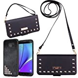 Samsung Galaxy S7 Edge Wallet Case, True Color Premium Studded Wristlet with Removable Magnetic Hybrid Case + 2 Changeable Wrist and Cross Body Straps Clutch Purse Clubbing Cover + Stand - Black