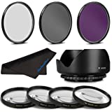 72MM Professional Macro & Lighting Filter Kit, 72 mm CPL + UV + FLD + 4 Piece Close Up Kit & 72 mm Lens Hood, 72mm Filter Bundle