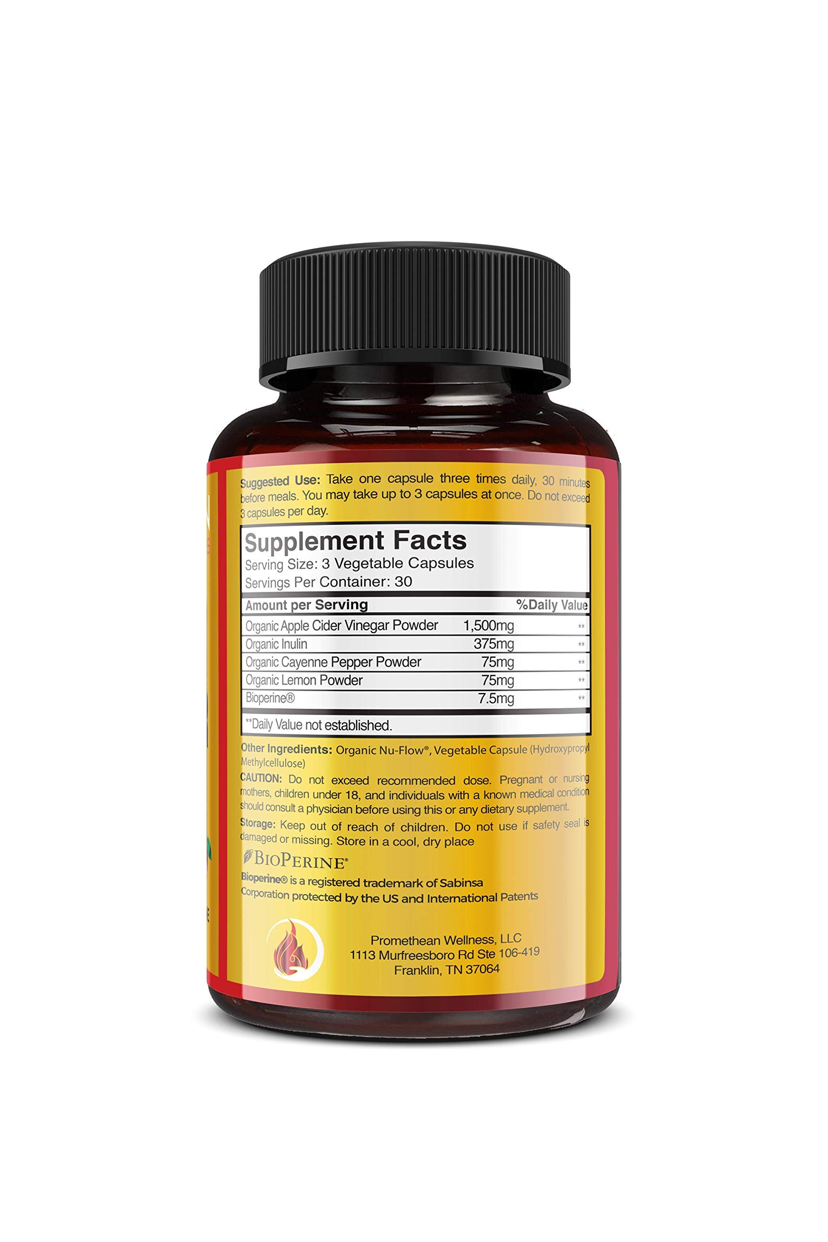 Organic Apple Cider Vinegar Capsules ACV PRO Diet Pills Detox Cleanse for Weight Loss Raw Unfiltered With Mother Powder Supplements Tablets Vitamins Cayenne Pepper Inulin Prebiotics Lemon 1500mg 90 ct by Promethean Wellness LLC (Image #6)