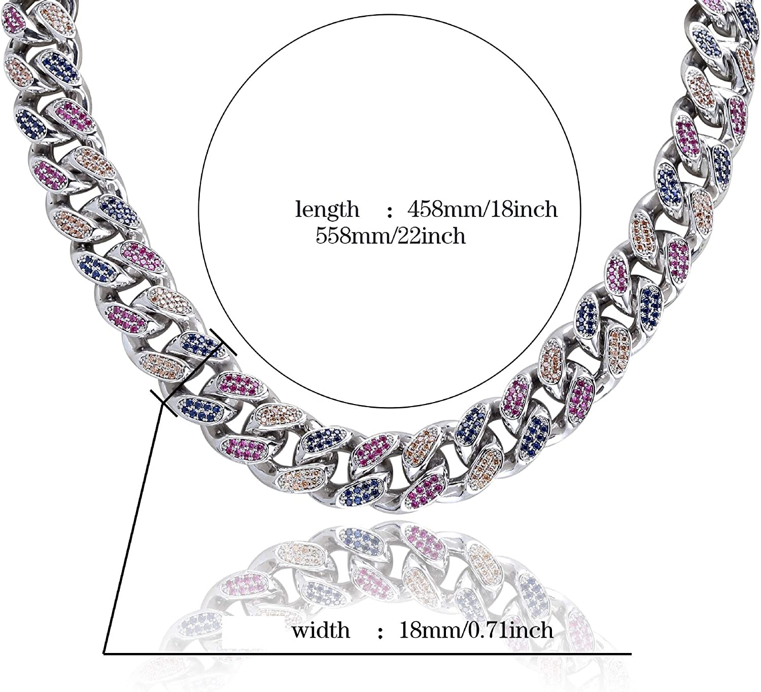 LC8 Jewelry Men 14mm 18mm Width Luxury Necklace Hip Hop Iced Out Diamond Bling Colorful CZ Miami Rainbow Cuban Link Chain Necklace 14K Gold Plated