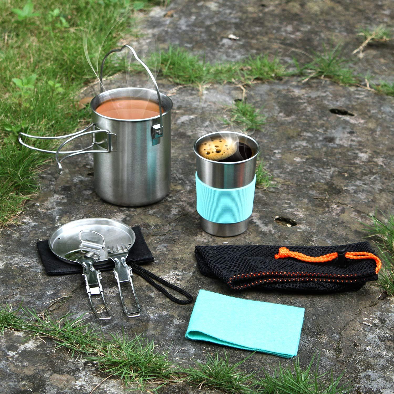 Taza de Agua de 12 onzas con Protector Olla de Camping de Acero Inoxidable con Percha Kit de Cuchara de Tenedor con Bolsa de Transporte Odoland Kit de Utensilios de Cocina para Acampar