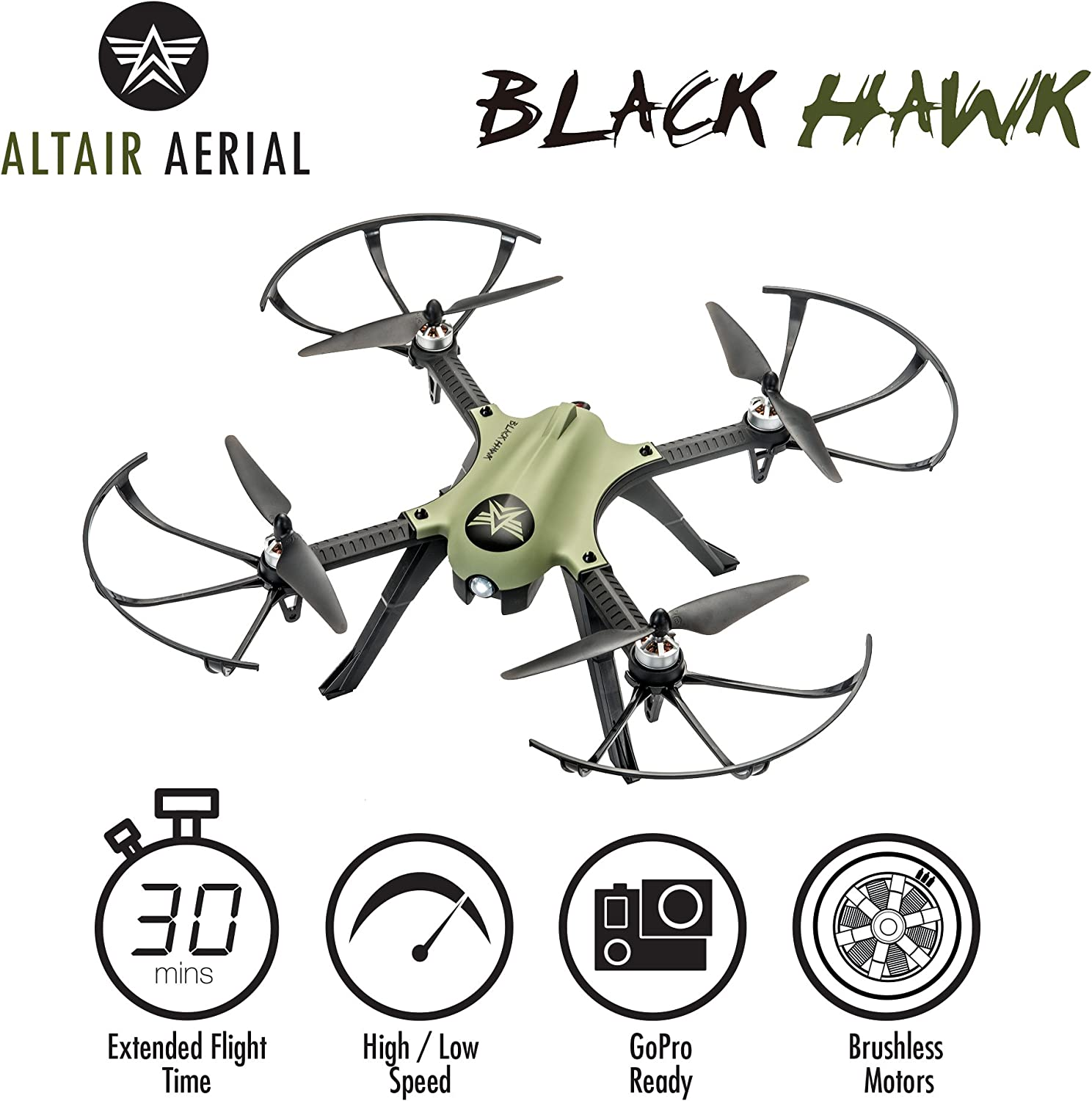 Altair Aerial Blackhawk is at # 1 for best drones without camera.
