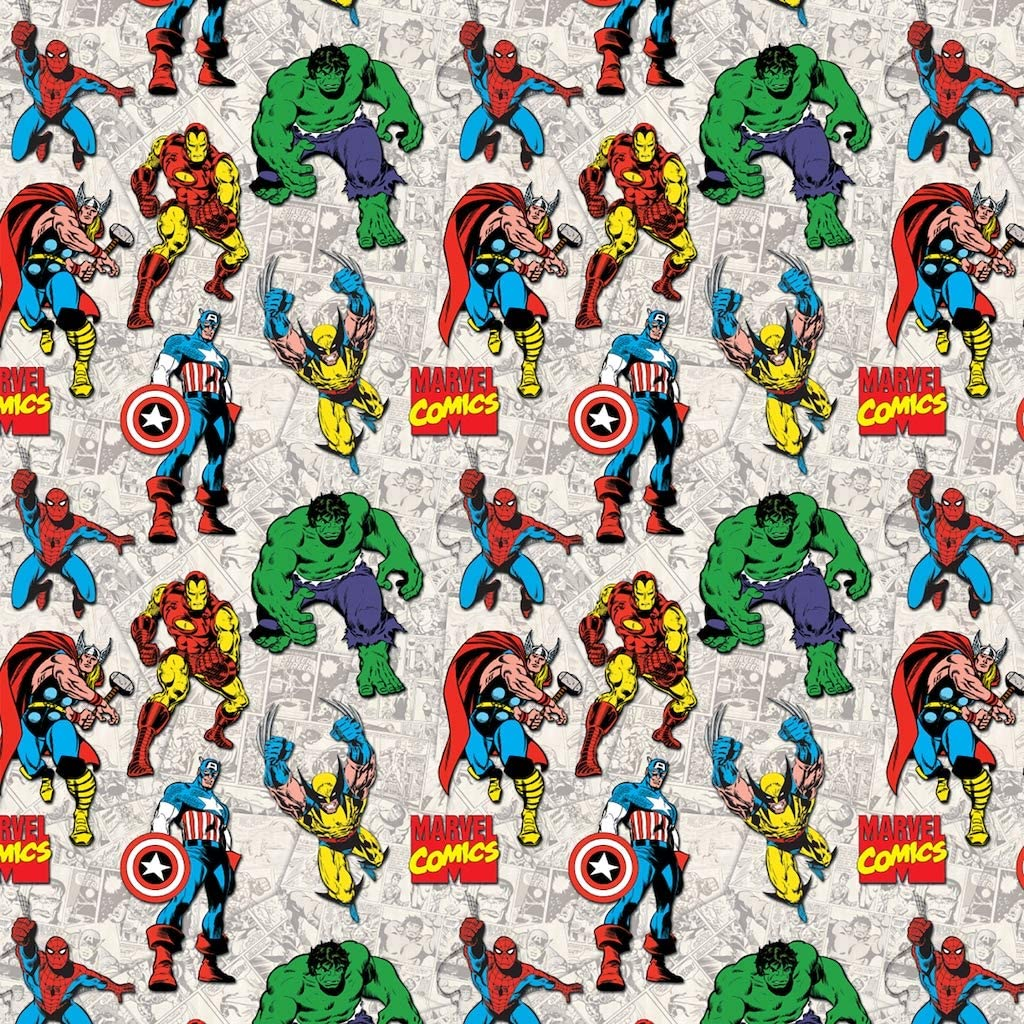Marvel Comic Heroes Superimposed Characters Premium Quality 100/% Cotton Fabric Sold by The Yard