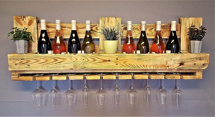 Super Weinregal aus Palette beflammt vintage Flaschenregal SQ29