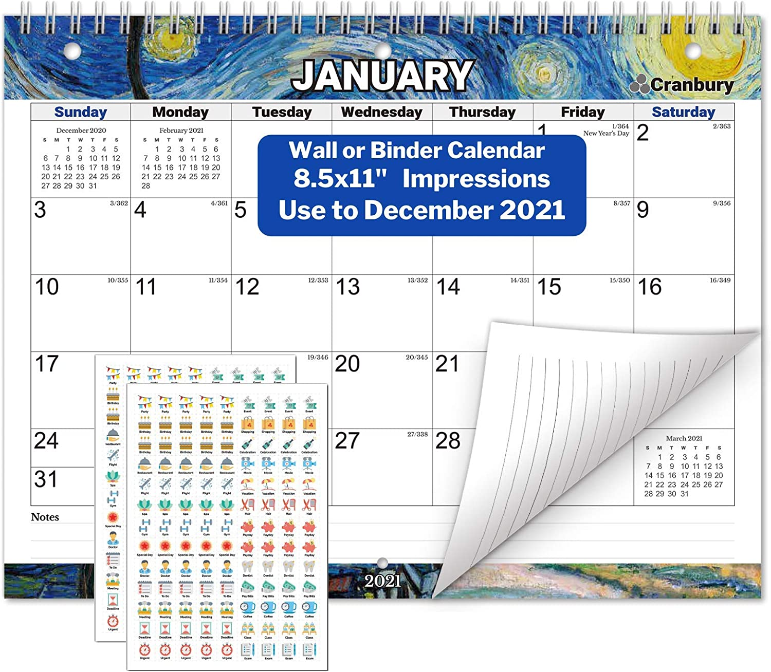 CRANBURY Small Wall Calendar 2020-2021 - (Impressions) Monthly Calendar for 3-Ring Binder, Desk or Wall, 8.5x11 Inches, Use to December 2021, School Year Academic Calendar, Includes Planner Stickers