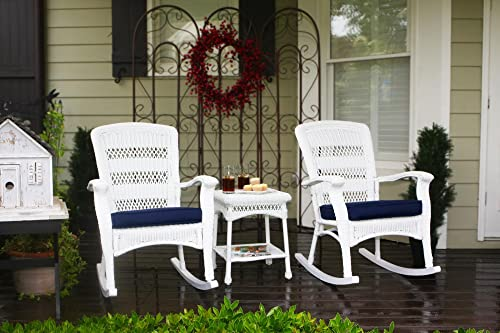 Tortuga Outdoor Portside Plantation 3pc Rocking Chair Set – White, Dark Roast and Amber Wicker with Cushions White