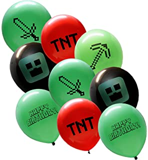 25 Pixel Style Miner Party Balloon Pack Large 12 Latex Balloons