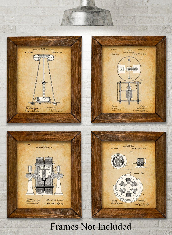Original Tesla Patent Art Prints Set Of Four Photos 8×10  # Tefla Muebles Sl