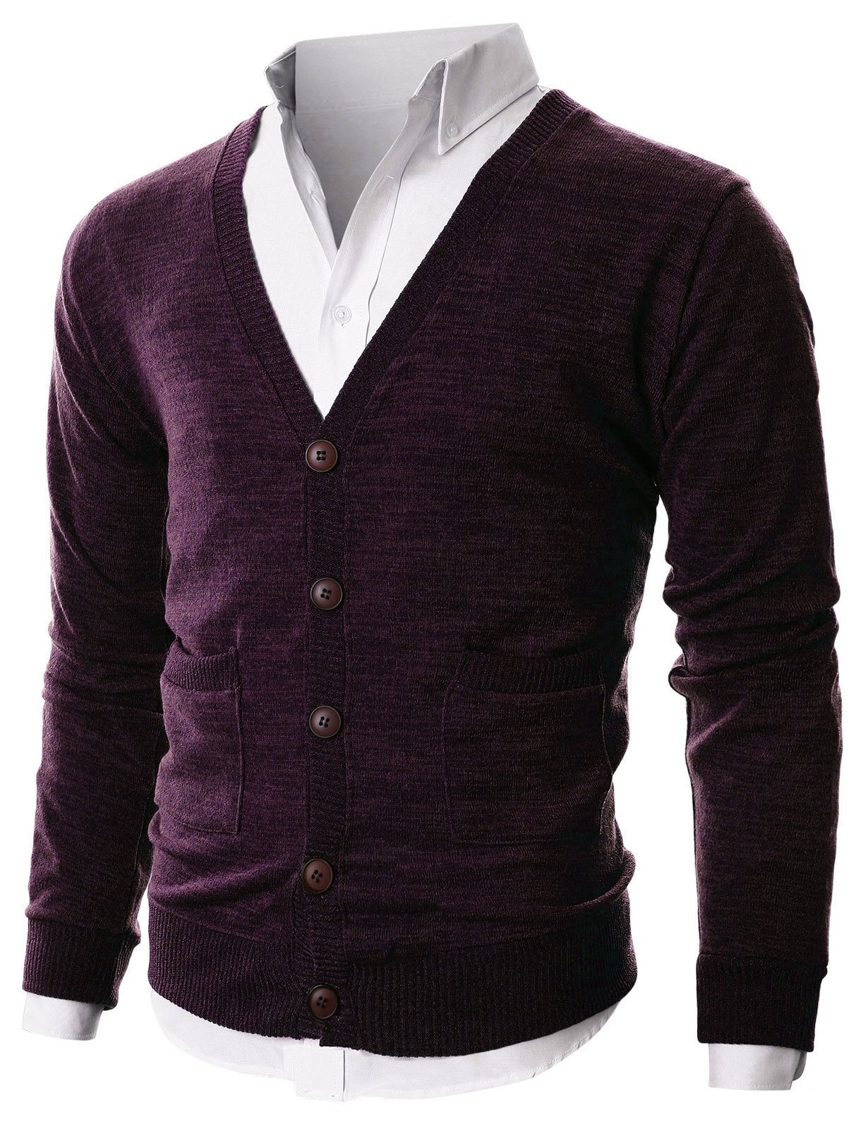 Ohoo Mens Slim Fit Ribbed Knit Cardigan With Pockets/DCC023-PURPLE-M