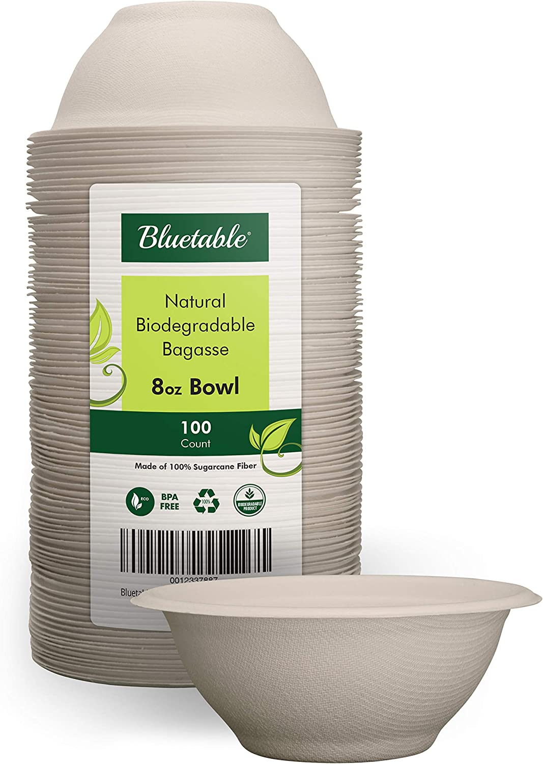Made from 100/% Sugarcane Disposable Eco Friendly bagasse bowls by Bluetable Biodegradable Bowls Natural Disposable Paper Bowls Compostable Bowls 12 Oz 100 Pack