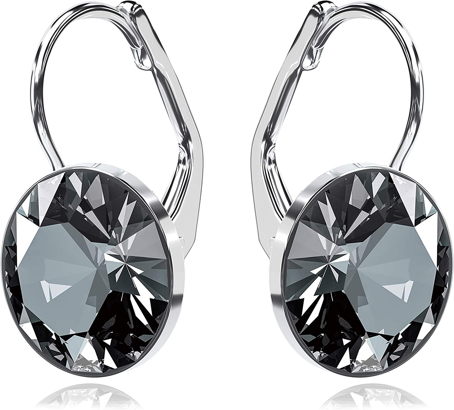 5 sections 4.5 inch Statement Length Interesting and eye-catching Black Shiny Finish Earrings Gorgeous Pierced Lever Back Drops