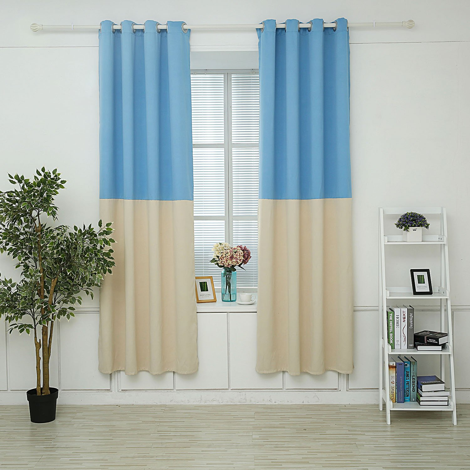 Two Tone Dark Blue 100/% Polyester 1 Panel Hello Laura Triple Weave Thermal Insulated Blackout Grommet Window Curtain 53 x 84