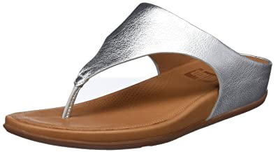 3aba8cc4e5ae FitFlop Womens Banda Leather Wedge Thong Sandals Silver 5 Medium (B