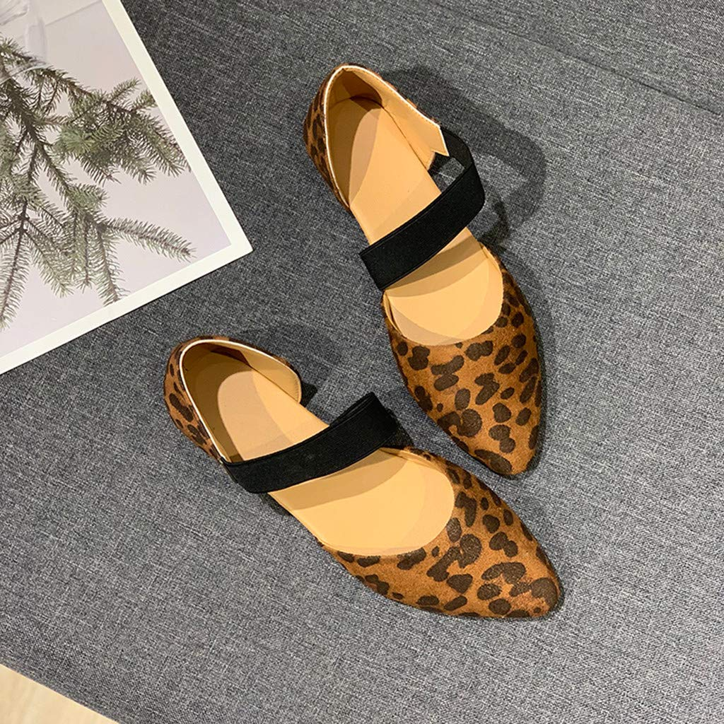 TIFENNY Women Fashion Pointed Toe Flat Shoes Summer Casual Elastic Band Sandals Beach Outdoor Single Shoes