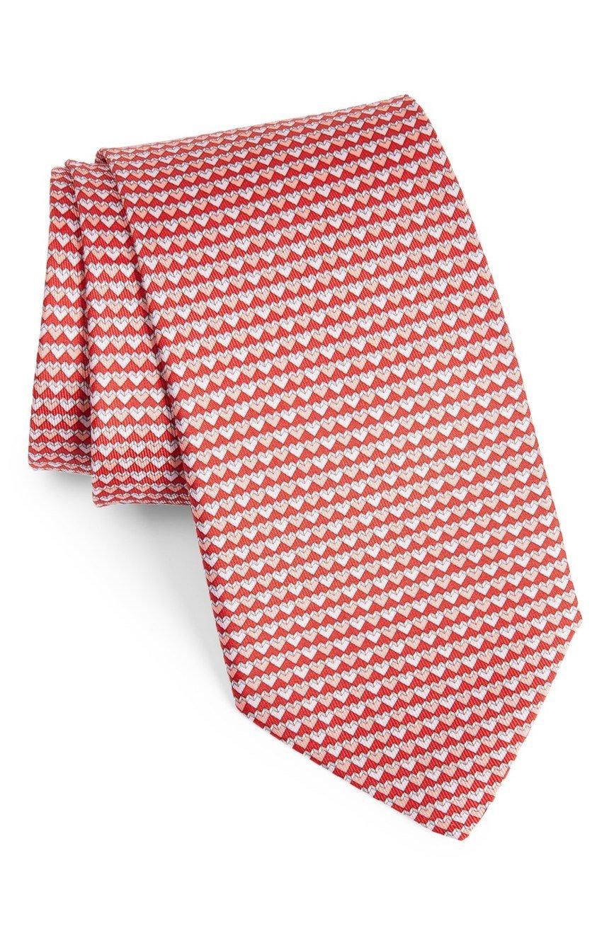Salvatore Ferragamo Men's Red Heart Silk Neck Tie by Salvatore Ferragamo