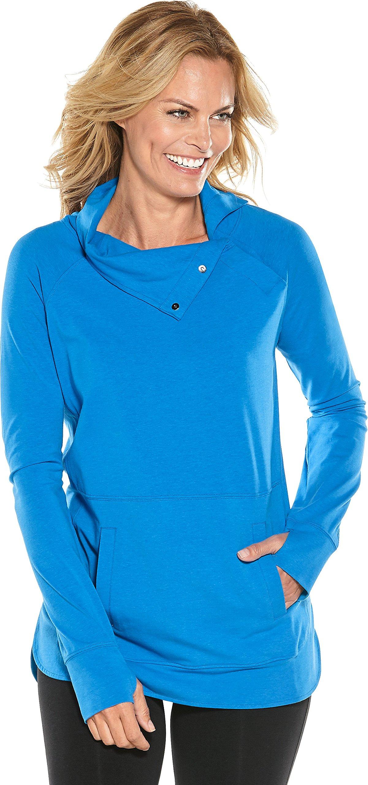 Coolibar UPF 50+ Women's Funnel Neck Top - Sun Protective (3X- Brilliant Blue)