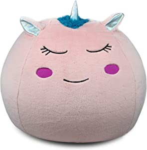 Unicorn Bean Bag Chair Cover for Kids (26 x 24 Inch) Ultra-Soft and Fluffy Fur-Like Cover for Kids Bean Bag Chair, Stuffed Animal Storage - Cute Unicorn Room Decor for Girls and Boys by Bins & Things
