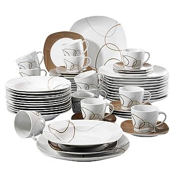 Veweet NIKITA 60pcs Service de Table Porcelaine 12pcs Assiette Plate,  Assiette à Dessert, Assiette 8a3367d015e4