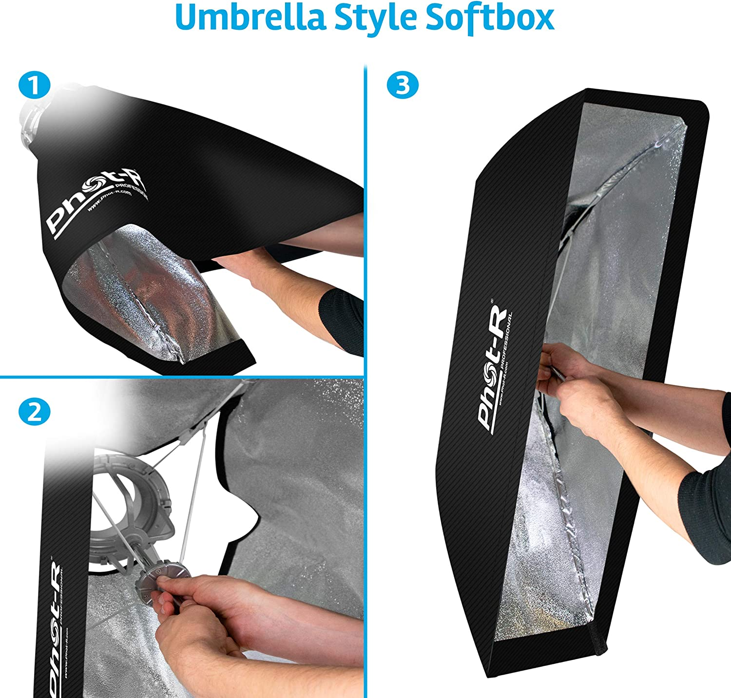 Strip Folding Umbrella Strip Softbox avec Elinchrom Mount Speedring Studio Strobe Flash 11.8x55.1 Phot-R 30x140cm