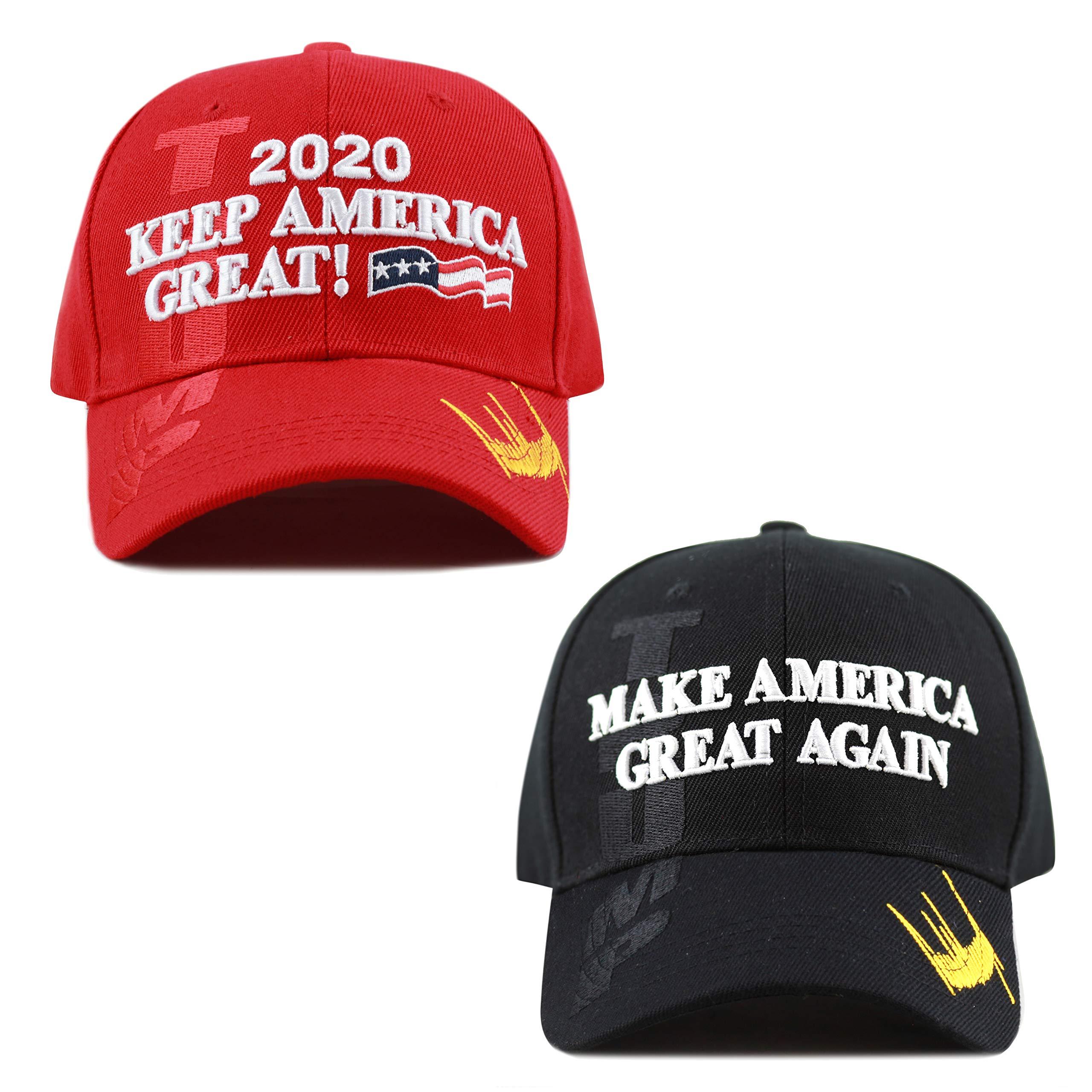 THE HAT DEPOT Exclusive Donald Trump Slogan Keep America Great/Make America Great Again 3D Cap (KAG Combo - BK)